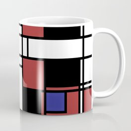 Neoplasticism symmetrical pattern in Well Read (red) Coffee Mug