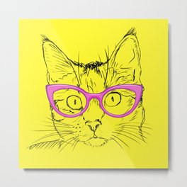 Yellow and Pink Hipster Cat Metal Print