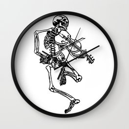 Skeleton Playing Violin Wall Clock