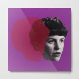 Sylvia Plath Portrait - purple pink Metal Print