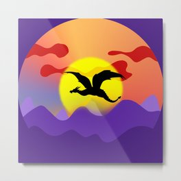 Black winged dragon flying over the dark purple mountains against the red sky. Magical sunset landscape. Fantasy universe painting. Gorgeous fairy tale land. Metal Print