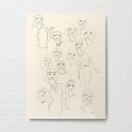 Lady Friends - black on off-white Metal Print