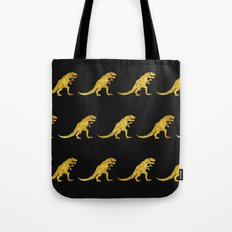 Golden T.Rex Pattern Tote Bag