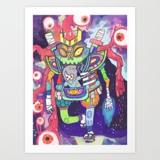 Kuri and the Kaiju Art Print