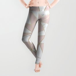 Geometric, Color Puce, Pink Aesthetic with Marble and Gold Leggings