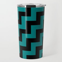 Black and Teal Green Steps RTL Travel Mug