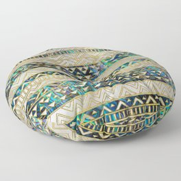 Tribal Ethnic  Pattern Gold on Abalone Shell and Pearl Floor Pillow