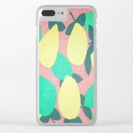 Lemony Fresh Citrus Pattern Clear iPhone Case