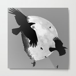 A Murder Of Crows Flying Across The Moon Metal Print