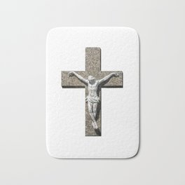Jesuschrist on a Cross Sculpture Bath Mat
