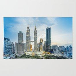 Petronas Towers at Sunset, Kuala Lumpur, Malaysia Rug
