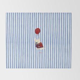 French Bulldog with Stripe Throw Blanket