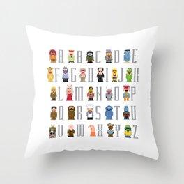 Pixel Muppet Show Alphabet Throw Pillow