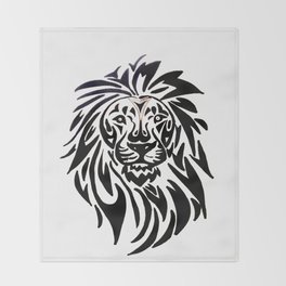 Lion face black and white Throw Blanket