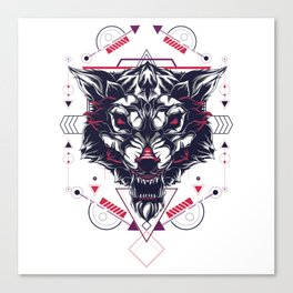 The White Wolf sacred geometry Canvas Print