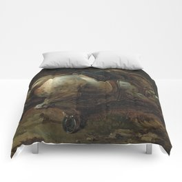 """Circle of Théodore Géricault """"A grey charger"""" Comforters"""