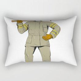 American Firefighter Fire Axe Drawing Rectangular Pillow