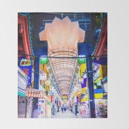 Neon Nakamise Throw Blanket