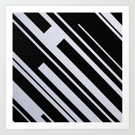 Bold Black and White Lines Shapes Geometry Geometric Contrasts Art Print