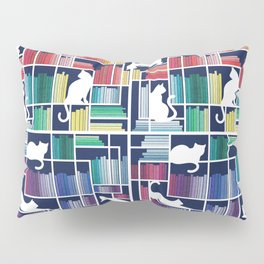 Rainbow bookshelf // navy blue background white shelf and library cats Pillow Sham