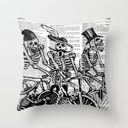 Calavera Cyclists | Skeletons on Bikes | Day of the Dead | Dia de los Muertos | Black and White | Throw Pillow