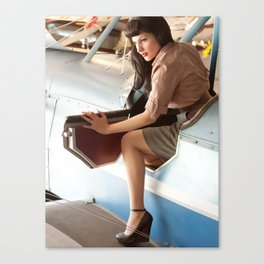 """Flight Deck"" - The Playful Pinup - Airplane Pilot Pin-up Girl by Maxwell H. Johnson Canvas Print"