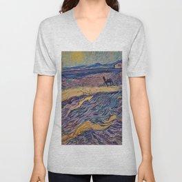 Enclosed Lavender Field with Ploughman by Vincent van Gogh Unisex V-Neck