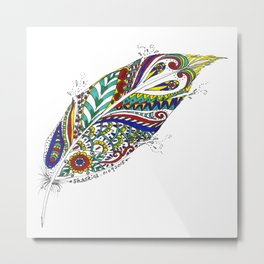 Tribal Feather Metal Print