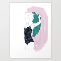 Long-hair  girl in swimsuit Art Print