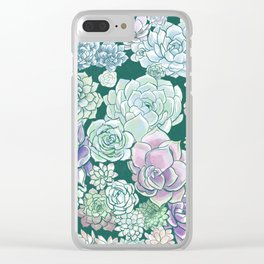 Succulent Sketches Clear iPhone Case
