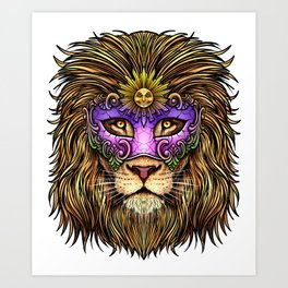 Mardi Gras | Pride Lion With Cute Mask Art Print
