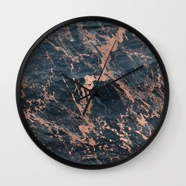 Blue & Rose Gold Marble Wall Clock