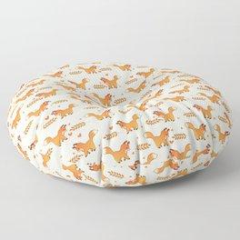 Red Fox & Hearts Pattern Floor Pillow