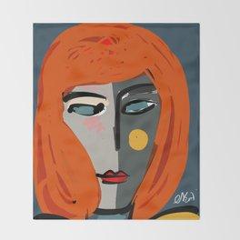 Mysterious Girl Portrait Stefania Style Art Throw Blanket