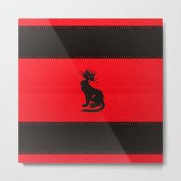 Tribal Black Cat Embossed on Faux Leather Metal Print