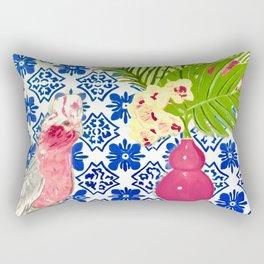 PINK PARROT AND PORTUGESE TILES Rectangular Pillow