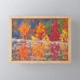 Autumn Fire, Still Water Framed Mini Art Print