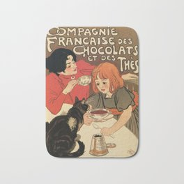 Vintage French tea and hot cocoa advertising Bath Mat