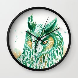 green owl Wall Clock