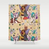 fairies Shower Curtains featuring The 3 Fairies by minniemorrisart
