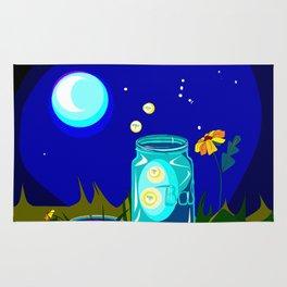 A Jar of Fireflies at Night Rug