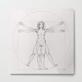Vitruvian Woman - Sketch Metal Print