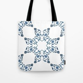 Blue Floral Heart Tile Tote Bag