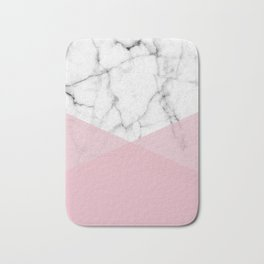 Real White marble Half Rose Pink Modern Shapes Bath Mat