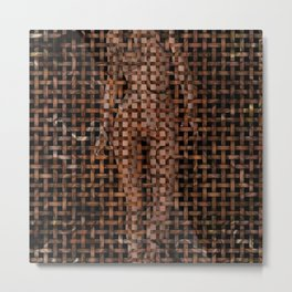 Abstract Nude Female Weave Pattern Metal Print