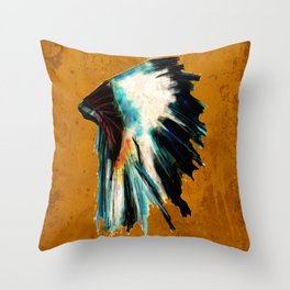 Native Headdress Orange Edit Throw Pillow