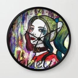 Nail Polish Paintng Of Harley Quinn Wall Clock