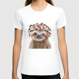 Baby Sloth With Flower Crown, Baby Animals Art Print By Synplus T-shirt