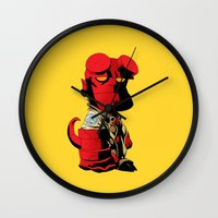 daenerys Wall Clocks featuring The Hero From Hell by bimorecreative