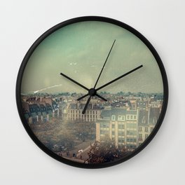 Vintage View of Paris From Up High Wall Clock